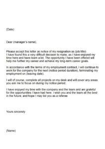 Letter of resignation extended